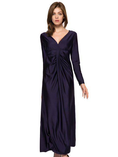 latest Plunging Neck Solid Color Dress - DEEP BLUE S Mobile