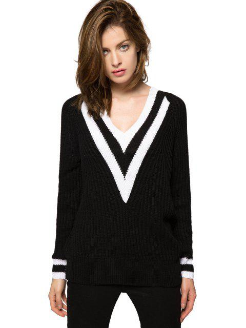 outfits Color Block Plunging Neck Sweater - BLACK S Mobile