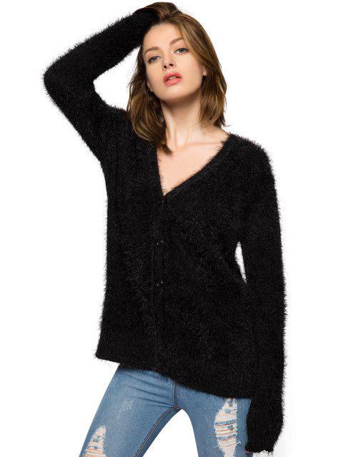 best Black Long Sleeve Mohair Cardigan - BLACK XL Mobile