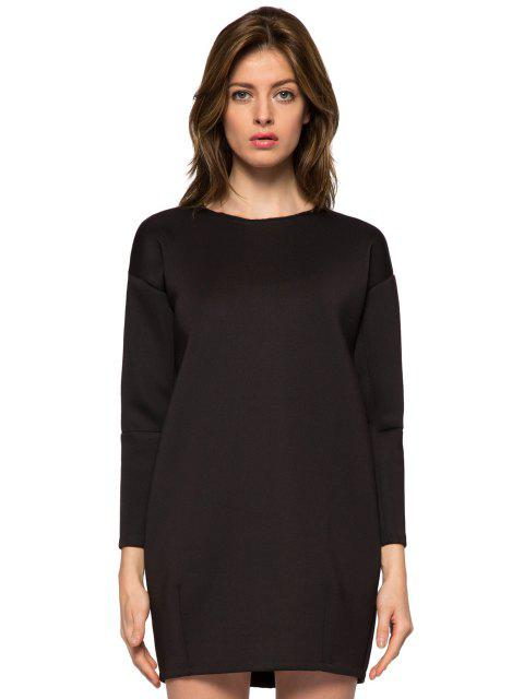 hot Black Round Collar Long Sleeve Dress - BLACK XS Mobile