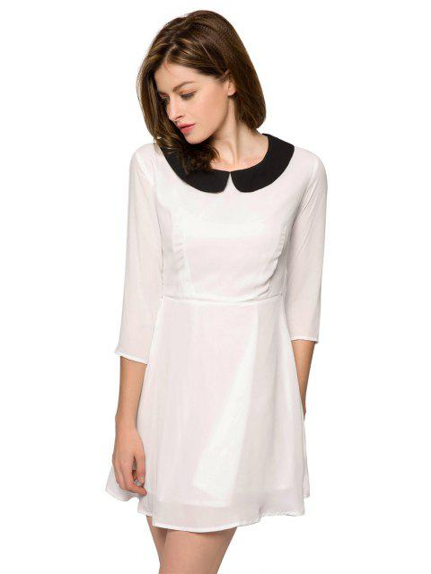 outfits Color Block 3/4 Sleeve Dress - WHITE XS Mobile