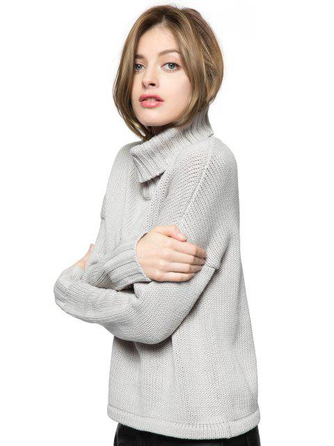 lady Turtle Collar Solid Color Sweater - GRAY M Mobile