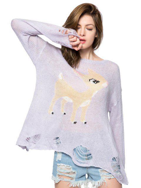 best Fawn Pattern Broken Hole Knitwear - PURPLE M Mobile