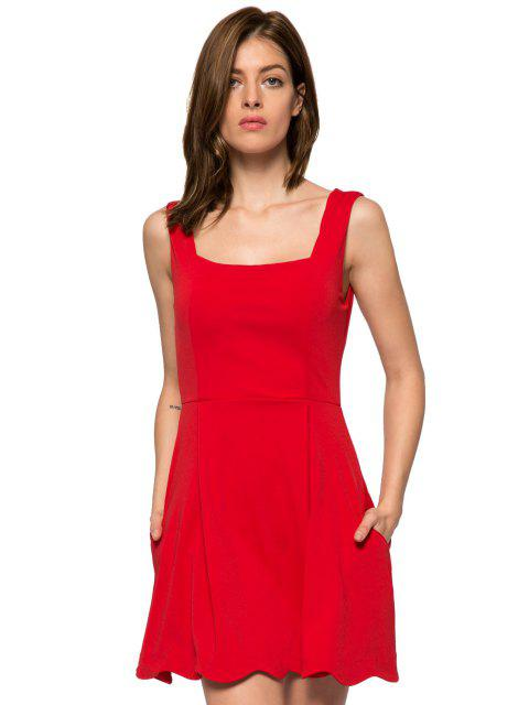 fashion Red Straps A-Line Sundress - RED L Mobile