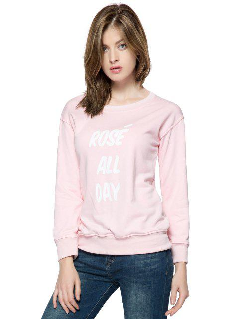 chic Pink Letter Print Long Sleeve Sweatshirt - PINK XS Mobile