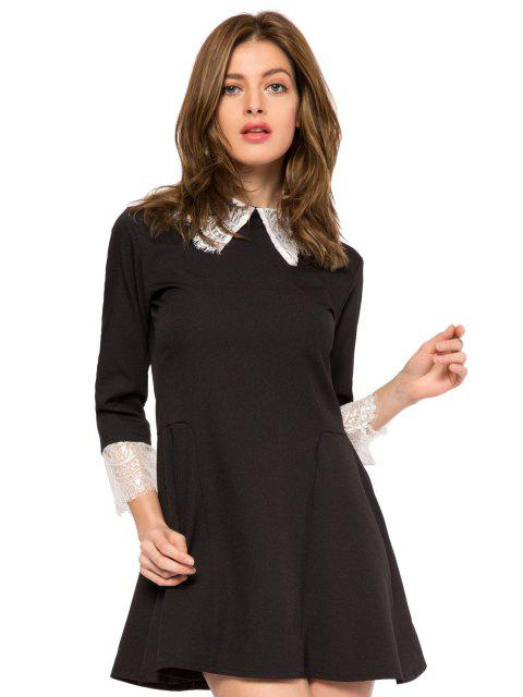 unique Lace Splicing Turn-Down Collar Dress - BLACK XS Mobile
