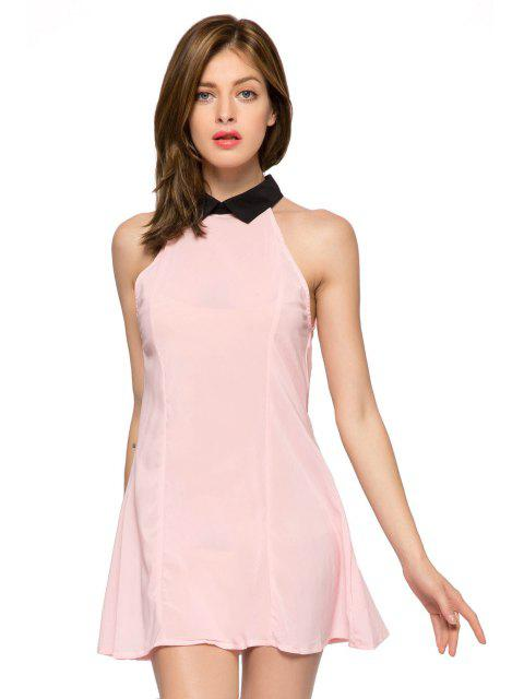 outfit Flat Collar Color Block Dress - PINK S Mobile
