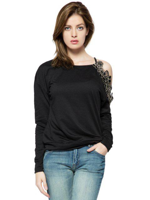 trendy Embroidery Off-The-Shoulder Sweatshirt - BLACK S Mobile