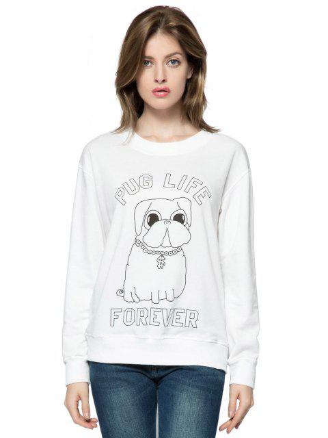 buy Letter and Dog Print Sweatshirt - WHITE M Mobile