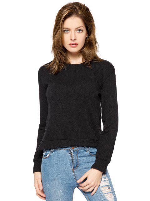 online Black Long Sleeve Zipper Sweatshirt - BLACK L Mobile