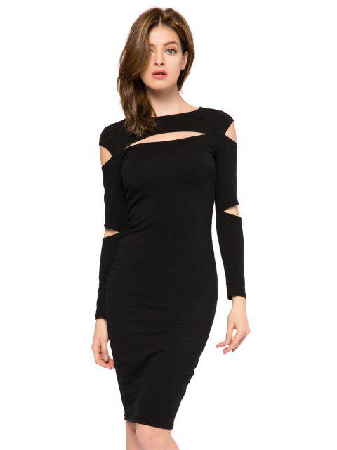 fashion Black Long Sleeve Hollow Out Dress - BLACK L Mobile