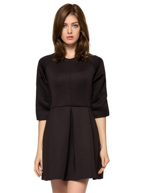 affordable Solid Color 3/4 Sleeve A-Line Dress - BLACK XS Mobile