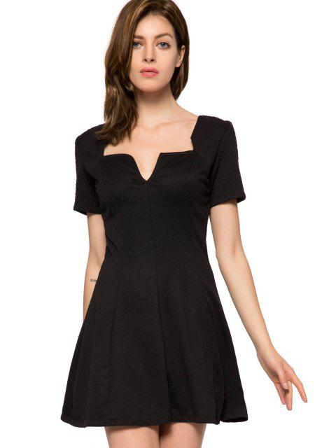 affordable Short Sleeve Black A-Line Dress -   Mobile