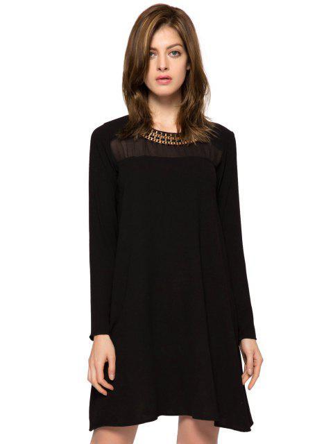 online Long Sleeve Metal Embellished Dress - BLACK M Mobile