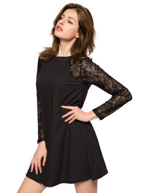 sale Lace Splicing Long Sleeve Dress - BLACK M Mobile