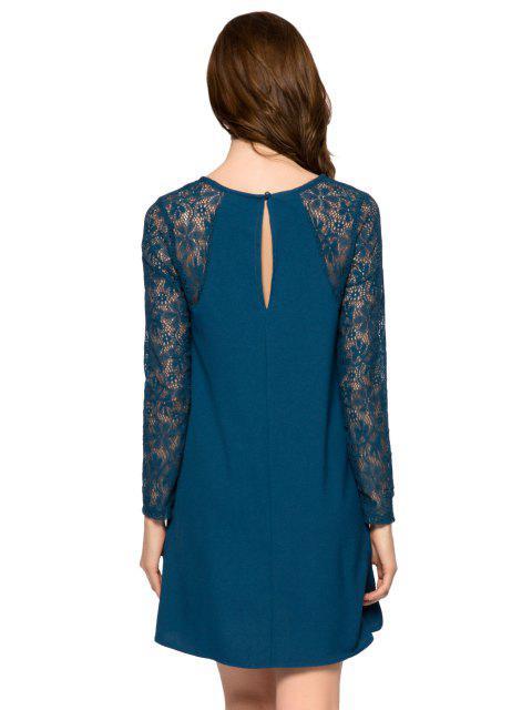 best Lace Splicing Long Sleeve Dress - BLUE XL Mobile