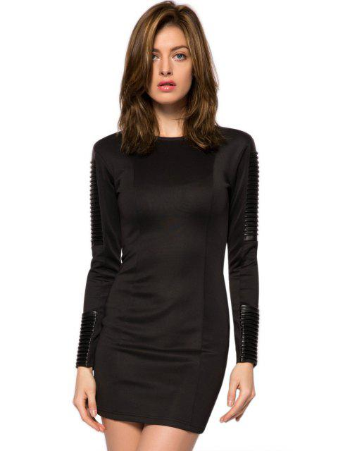 outfit PU Leather Splicing Bodycon Dress - BLACK XS Mobile