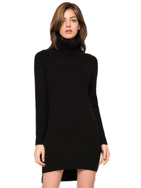 women Black Turtle Neck High-Low Hem Sweater - BLACK L Mobile