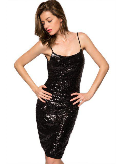 new Spaghetti Straps Sequins Backless Dress - BLACK M Mobile