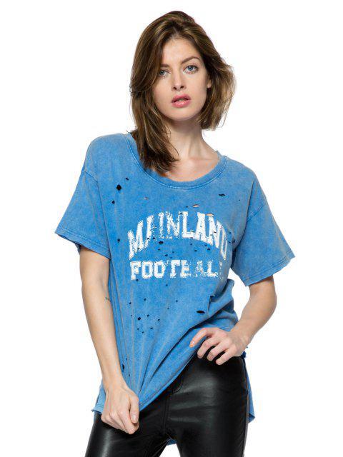 women Print Broken Hole Short Sleeve T-Shirt - BLUE XS Mobile