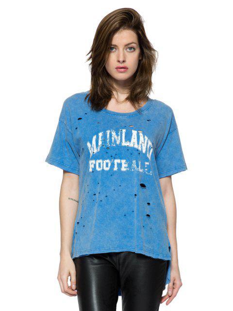 ladies Print Broken Hole Short Sleeve T-Shirt - BLUE M Mobile