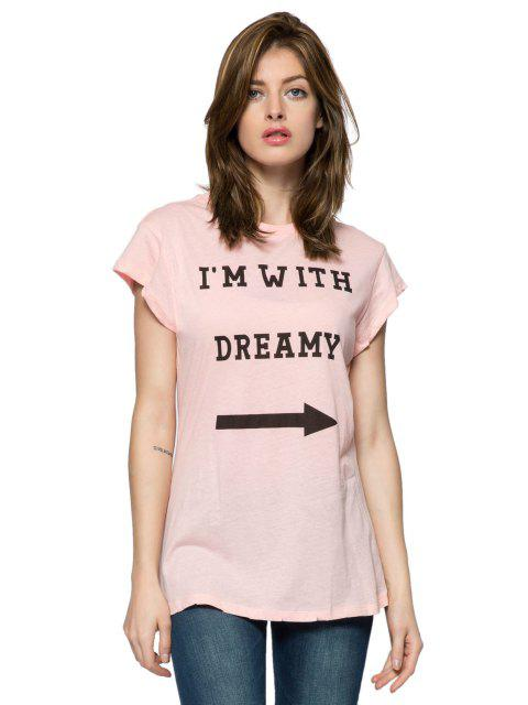 outfit Letter Arrow Print Short Sleeve T-Shirt - PINK M Mobile