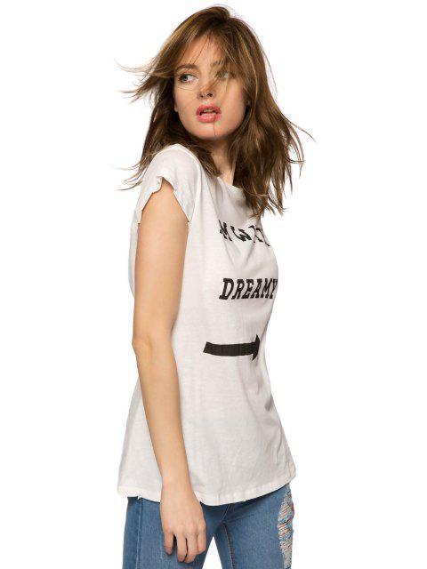 womens Letter Arrow Print Short Sleeve T-Shirt - WHITE S Mobile