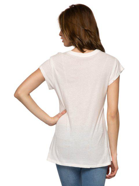 Lettre Flèche Imprimer manches courtes T-shirt - Blanc M Mobile