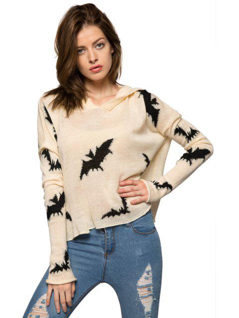 shop Bat Pattern Hooded Sweater - WHITE M Mobile