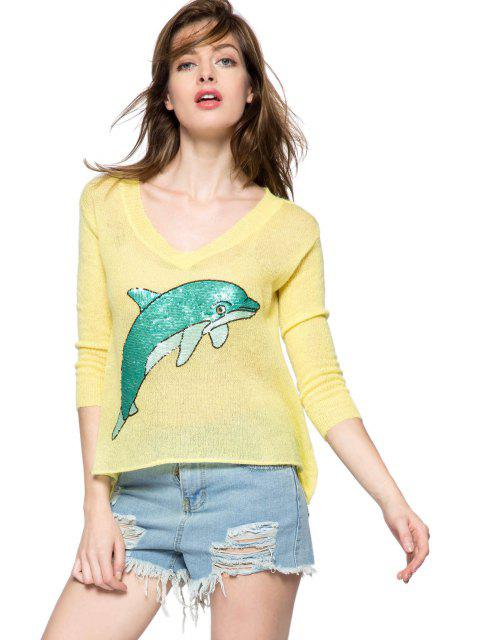 outfits Dolphin Pattern 3/4 Sleeve Sweater - YELLOW M Mobile