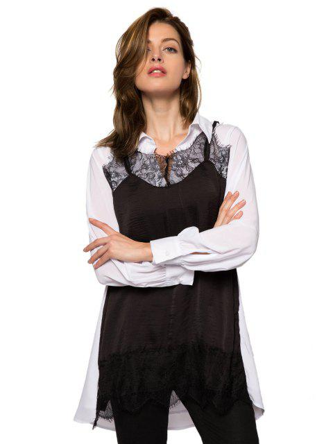 outfits Lace Splicing Color Block Dress - WHITE AND BLACK XS Mobile