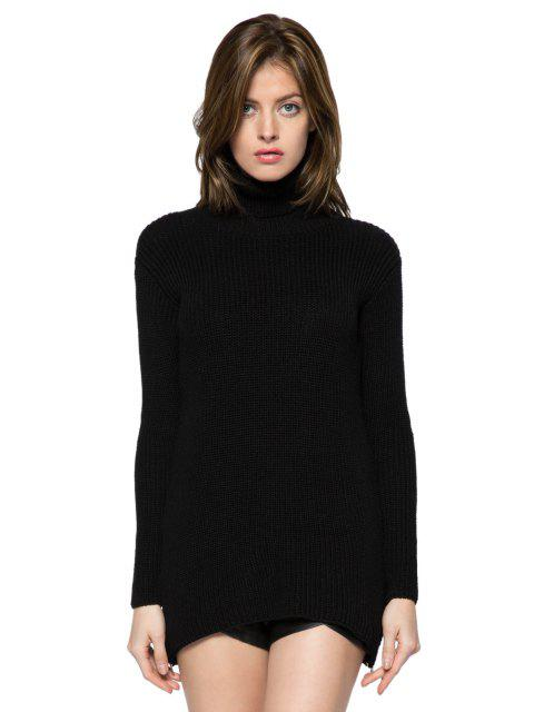 outfit Black Turtle Neck Zipper Sweater - BLACK XL Mobile
