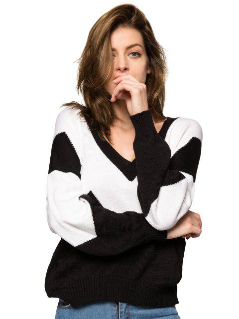 trendy Plunging Neck Color Block Sweater - WHITE AND BLACK XS Mobile