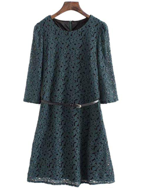 new Half Sleeve Solid Color Lace Dress - GREEN L Mobile