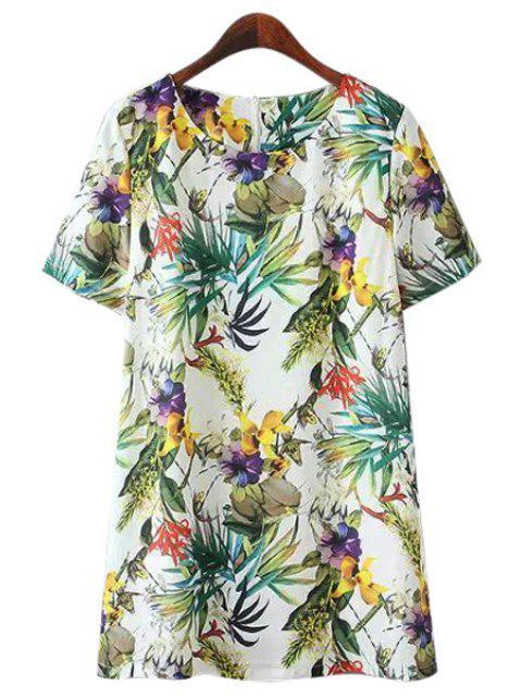 chic Floral Short Sleeve Dress - COLORMIX L Mobile