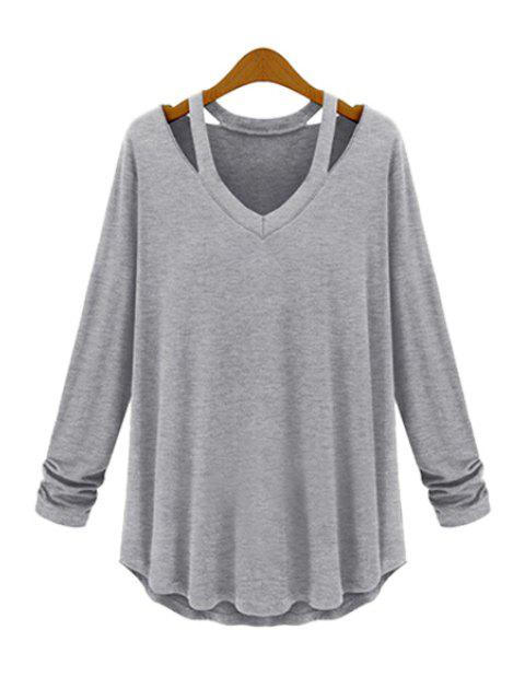 new Solid Color Loose-Fitting T-Shirt - GRAY XL Mobile