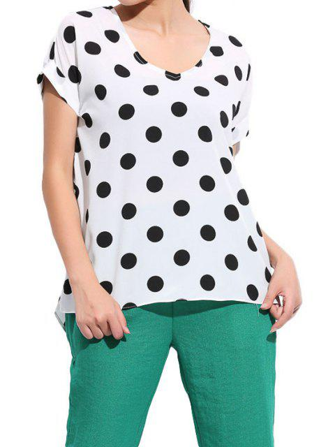 best Polka Dot Short Sleeve Blouse - WHITE L Mobile