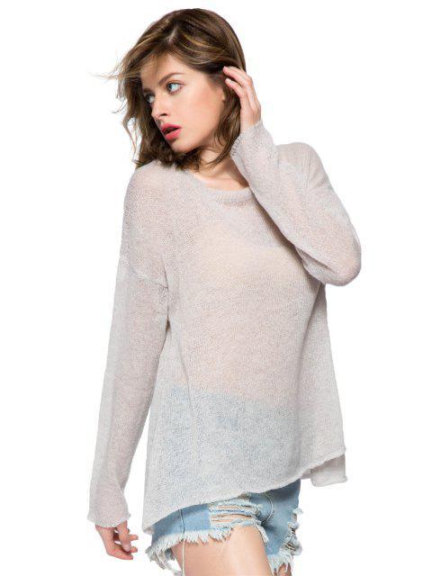 Wing Pattern Long Sleeve Knitwear - Grau S Mobile