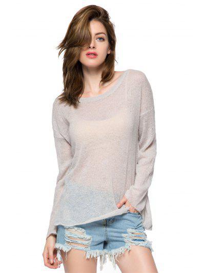 Wing Pattern Long Sleeve Knitwear - Gray S