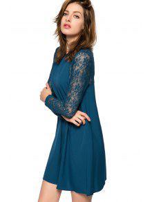Lace long sleeve dress blue