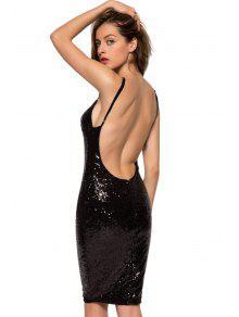 Spaghetti Straps Sequins Backless Dress BLACK: Club Dresses M | ZAFUL