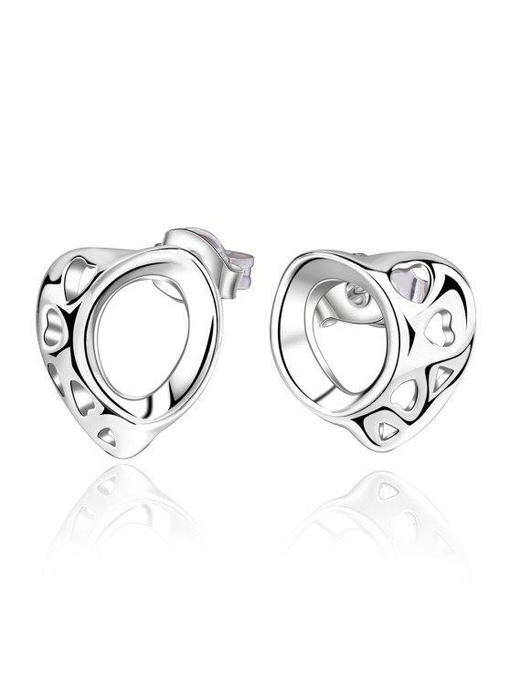 unique Pair of Stylish Women's Openwork Irregular Heart Shape Earrings - SILVER