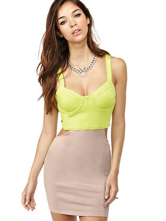 women Color Block Straps Bodycon Dress - APRICOT XS