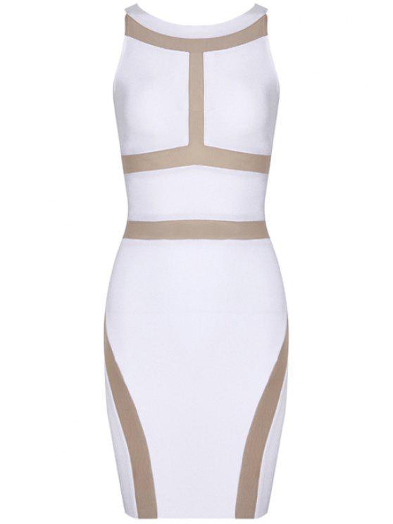shops Color Block Sleeveless Bandage Dress - WHITE L