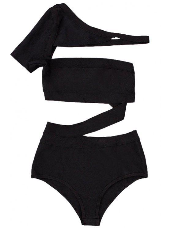fashion Solid Color One-Piece Bandage Swimwear - BLACK XS