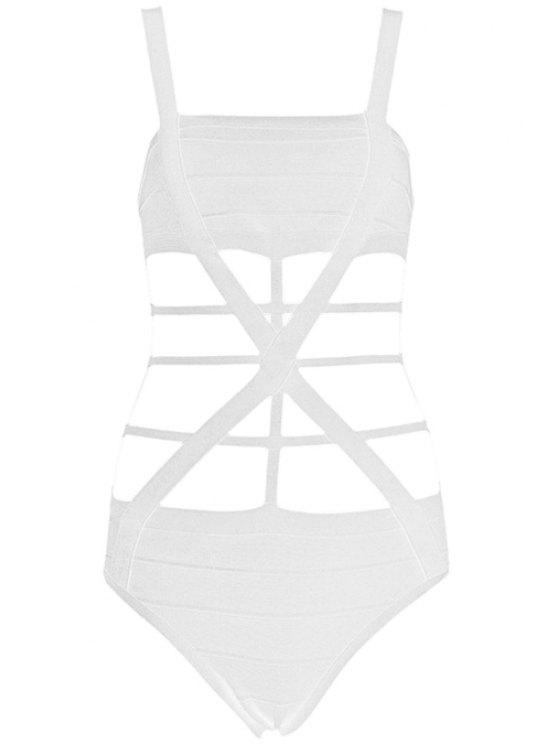 women Straps Bandage One-Piece Swimwear - WHITE XS