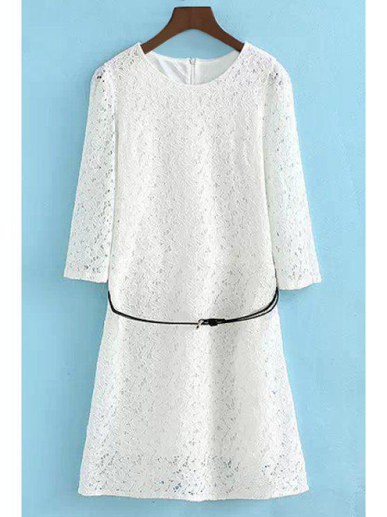 buy Lace Openwork Long Sleeve Dress - WHITE S
