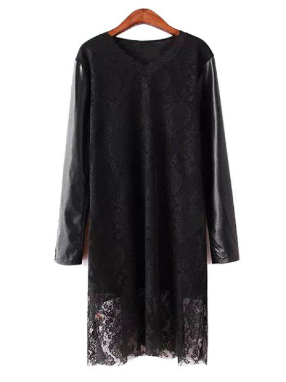 fancy PU Leather Splicing Lace Dress - BLACK L