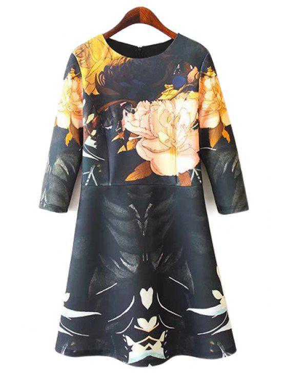 latest Floral Print 3/4 Sleeve Dress - COLORMIX M