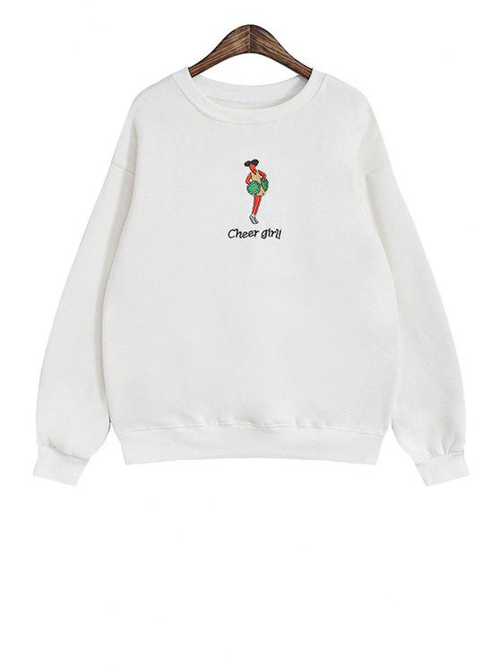 shop Cartoon Girl Print Long Sleeve Sweatshirt - WHITE ONE SIZE(FIT SIZE XS TO M)